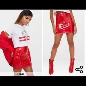 Red vinyl skirt from pretty little thing